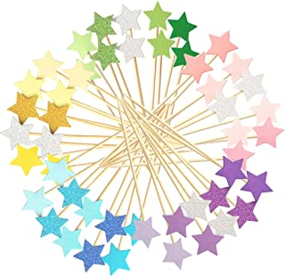 Winrase 50pcs Multicolor Stars Cupcake Toppers Mini Cake Toppers Food Decoration Toppers Party Decorative Accessories for ...