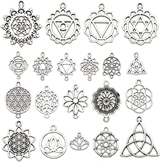 iloveDIYbeads 40pcs Craft Supplies Antique Silver The Seed of Life Lotus Flower of Life Charms Pendants for Crafting, Jewelry Findings Making Accessory for DIY Necklace Bracelet M144
