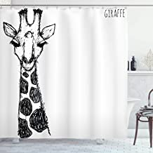 Ambesonne Black and White Shower Curtain, Graphic of Safari Giraffe Tall Neck Spots West Wild Character, Cloth Fabric Bathroom Decor Set with Hooks, 84 Long Extra, Grey White