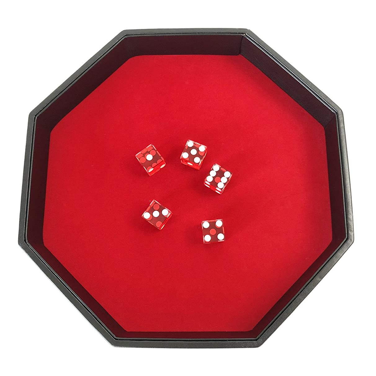 YH Poker 11.5 Inch Octagon Dice Tray - Heavy Duty Leatherette with Velvet Rolling Surface ?-