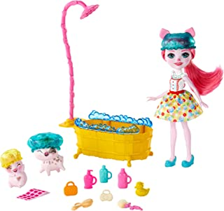 Enchantimals GJX36 BATHTIME Splash PLAYSET with PETYA Pig Doll & STREUSEL, Multi
