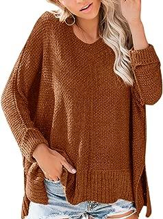 Spadehill Women's One Shoulder Side Slits Long Sleeve Knit Sweater
