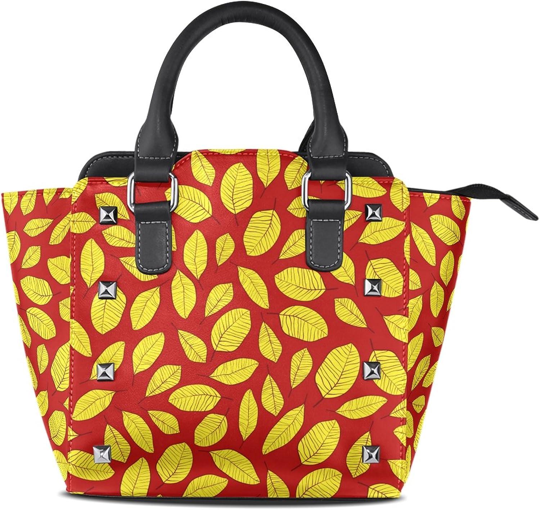 My Little Nest Women's Top Handle Satchel Handbag Bright color Retro Leaves Ladies PU Leather Shoulder Bag Crossbody Bag