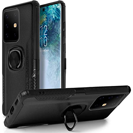 Magnetic Car Mount Feature for Galaxy Note 20 Plus Pro Ultra 6.9 2020 Black Galaxy Note 20 Ultra Case,Stylish Dual Layer Hard PC Back Case with 360 Degree Rotation Finger Ring Grip Kickstand