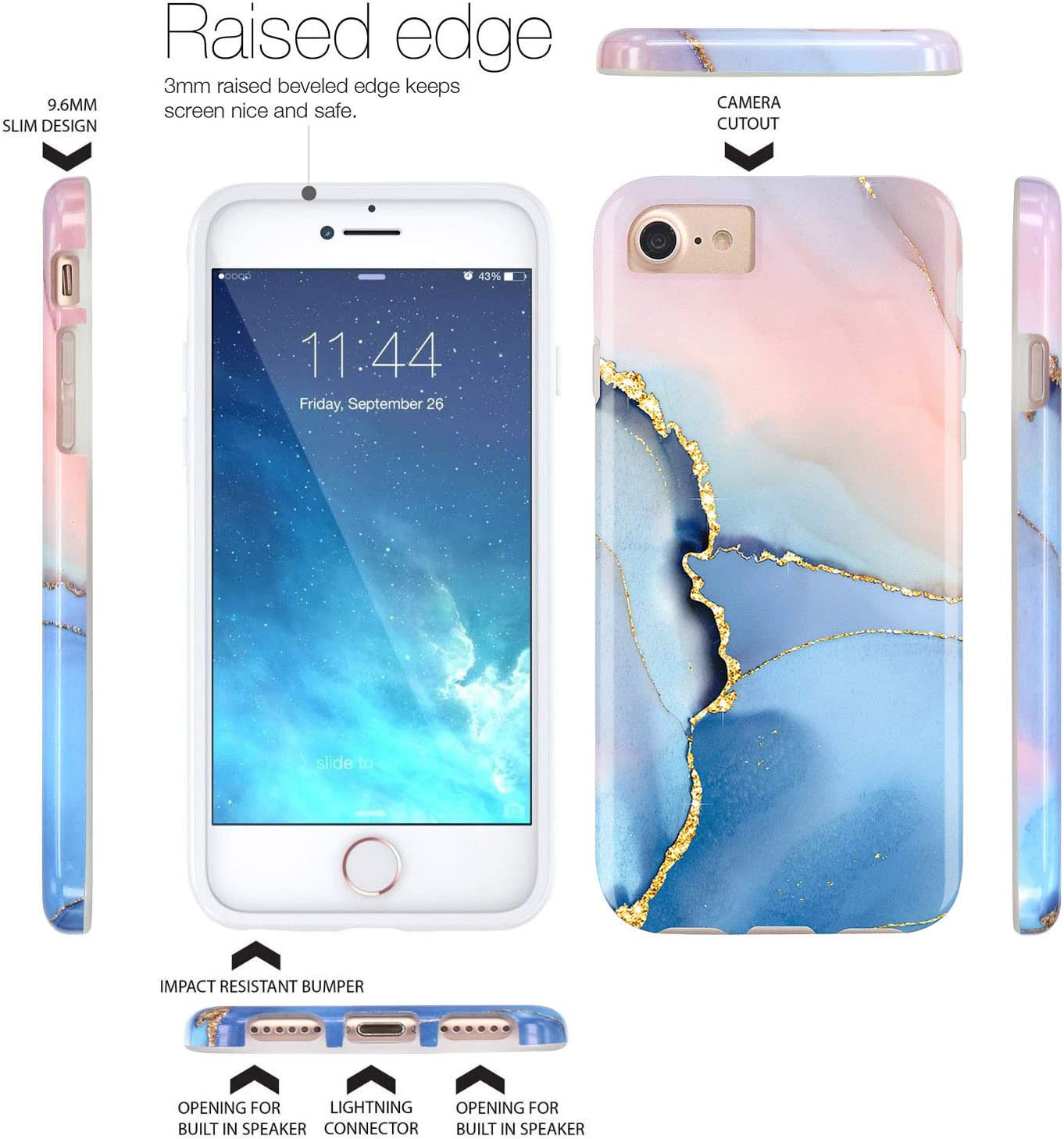 JAHOLAN Gold Glitter Sparkle Blue Marble Design Clear Bumper Glossy TPU Soft Rubber Silicone Cover Phone Case Compatible with iPhone 7 iPhone 8 iPhone 6 6S iPhone SE 2020