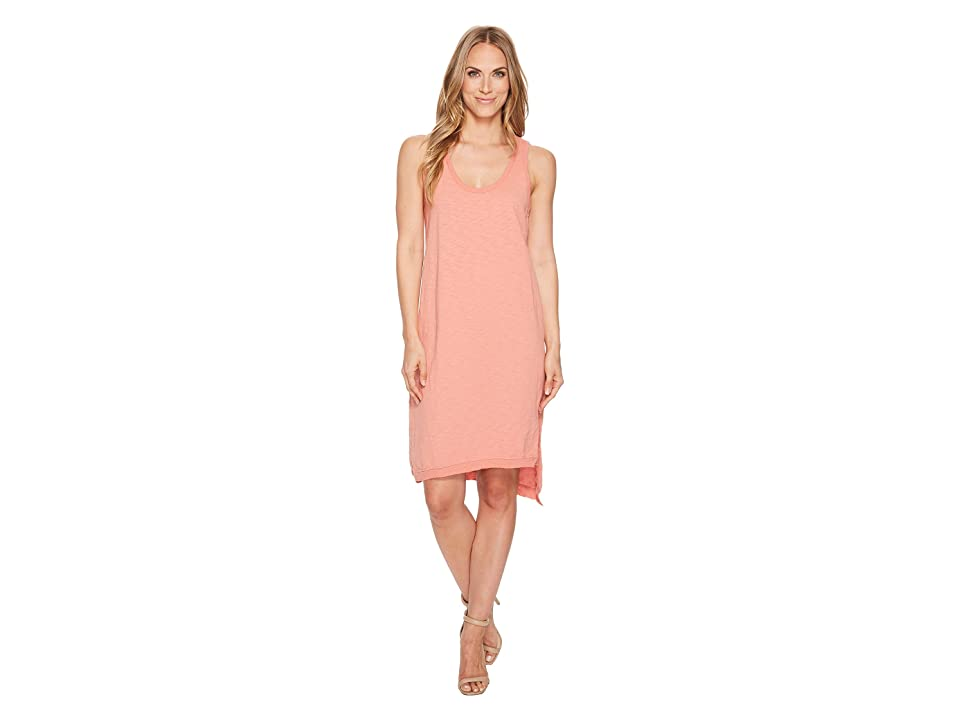 Dylan by True Grit Luxe Cotton Slub Asymmetrical Slit Dress (Vintage Coral) Women