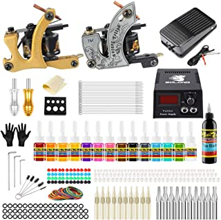 Solong Tattoo Complete Starter Beginner Tattoo Kit 2 Pro Machine Guns 14 Inks Power Supply Foot Pedal Needles Grips Tips TK212