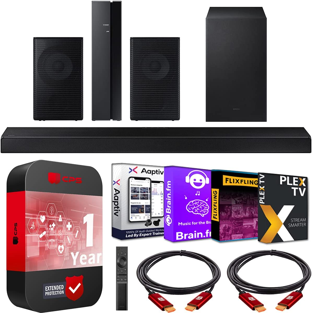 Samsung HW-A650 5.1ch Surround Sound Wireless Home Theater Bundle 3.1ch Dolby Digital 5.1 Soundbar 2021 + SWA-9100S 2ch Rear Speaker Kit + Subwoofer + Extended Coverage + 2 Deco Gear HDMI Cables