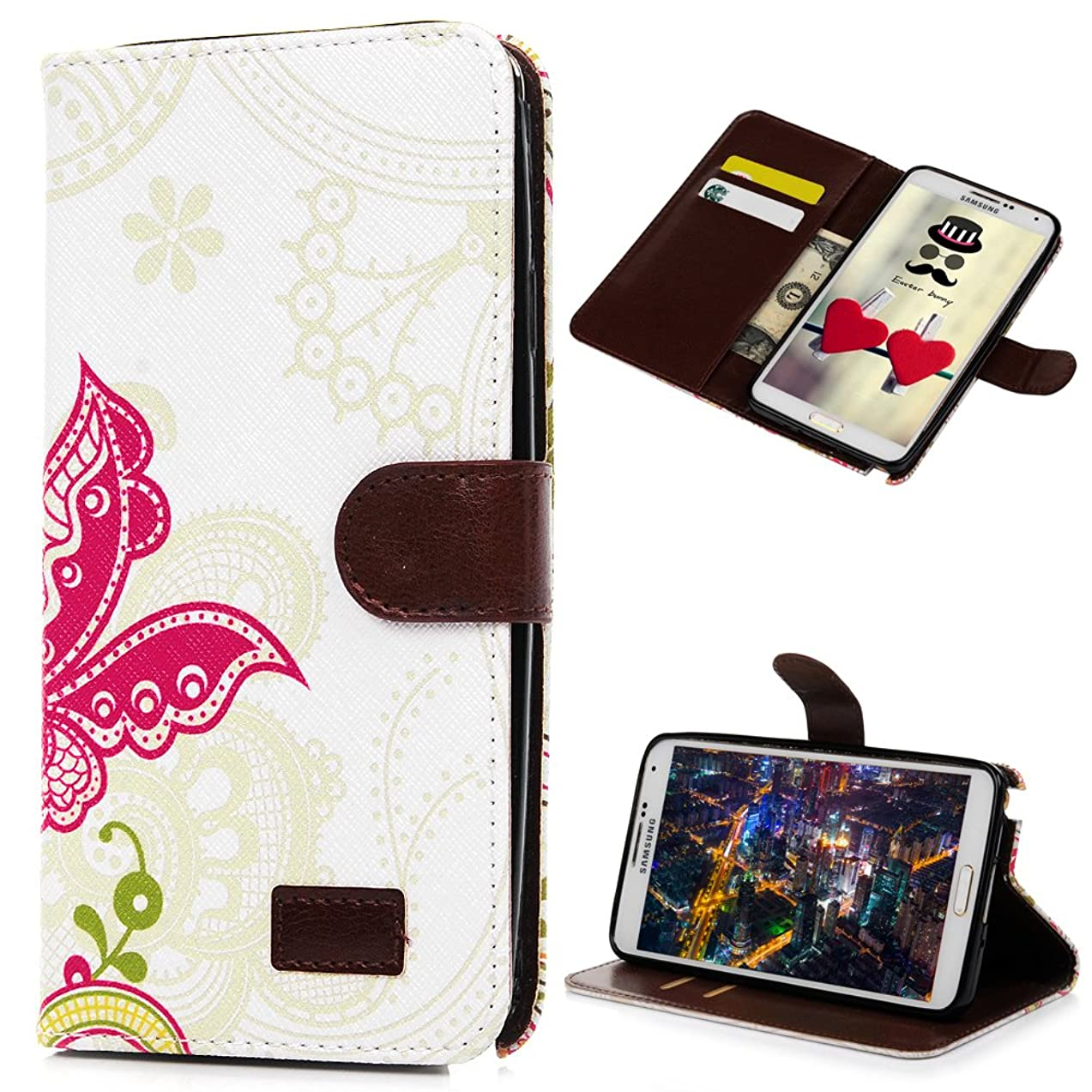 Note 3 Case, Galaxy Note 3 Case - Mavis's Diary Wallet Type Fashion Style Flower PU Leather Series Magnet Design Cover with Kickstand Card Holders for Samsung Galaxy Note 3 SM-N9000 - Butterfly tomqsmcv239