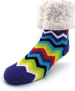 Pudus Cozy Winter Slipper Socks Women & Men w Non-Slip Grippers Faux Fur Sherpa