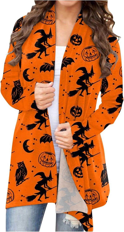 haoricu Womens Halloween Funny Cute Print Coats Cat Pumpkin Cardigan Open Front Outwear Plus Size Sweaters