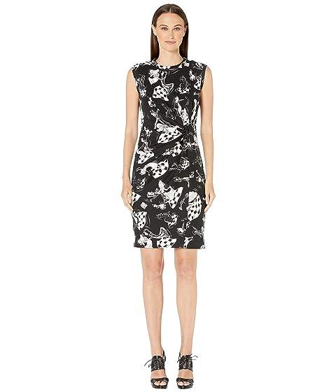 Boutique Moschino Plush Chess Print Sleeveless Dress
