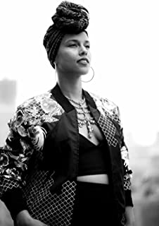 bribase shop Alicia Keys Music Star Fabric Cloth Rolled Wall Poster Print - Size: (36