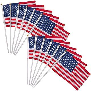 Gaetooely Lot de 12pcs 21x14cm Drapeau Americain USA Fanion avec Mats Rouge+Blanc+Bleu