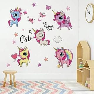 Runtoo Pegatinas de Pared Unicornio Stickers Adhesivos Vinilo Princesa Arcoiris Decorativas Infantiles Habitacion Bebe