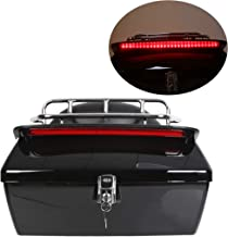EGO BIKE Black Motorcycle Trunk Tail Box Luggage Universal w/Top Rack&Backrest&TailLight