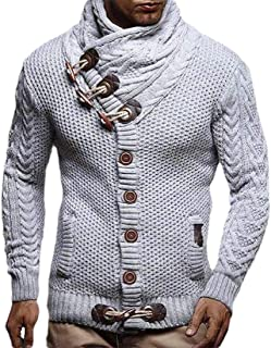 Mens Fashion Sweaters Turtleneck Cable Knit Button Down Chunky Casual Fall Jackets Coats