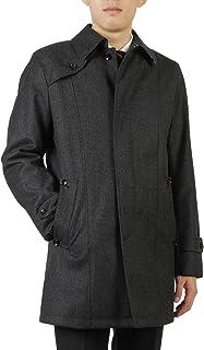 セール 期間限定 メンズ ウールの表面感でも風を通しにくく軽い ポリウレタンコーティングウール ステンカラー コート 洋服倉庫特選コート 紳士 通勤 ビジネスコート ウール素材 ピンヘッド柄 rc3501p