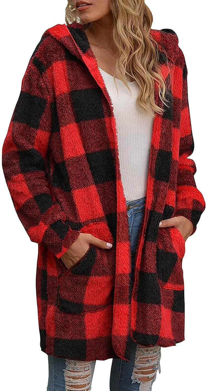 Women Casual Long Sleeve Plush Plaid Long Coat Tops Blouse Warm Soft Plus Hooded Open Front Cardigan Coat Teen Jacket