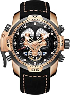 Reef Tiger Military Watches for Men Leather Strap Sport Watch Complicated Automatic Watches RGA3503