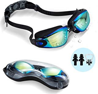 FMU Swim Goggles, Swimming Goggles No Leaking Anti Fog UV Protection Triathlon Swim Goggles with Nose Clips + Ear Plugs Free Protection Case for Adult Men Women Youth Kids Child