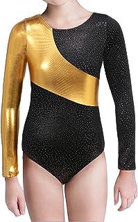 Long Sleeve Gymnastics Leotards for Girls Kids Teen Sparkle Ribbon Dancewear