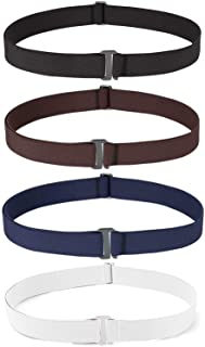 4 Pack Invisible Women Stretch Belt No Show Elastic Web Strap Belt with Flat Buckle for Jeans...