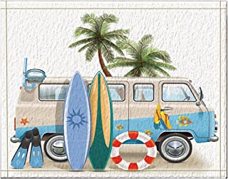NYMB Surfing Decor, Surfboard Palm Tree Lifebuoy Leaning on Minivan Bath Rugs, Non-Slip Floor Entryways Outdoor Indoor Front Door Mat,15.7x23.6in Bath Mat Bathroom Rugs