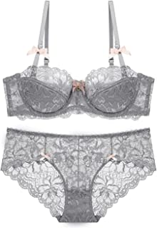 b4ea86467463f Women Push Up Lace Bra and Panty Set Underwire Lightly Lined Sexy Lingerie  Set