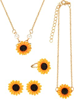 5 Pieces Totally Sunflower Shape Necklace Drop Petal Pendant Necklace with Faux Pearl, Sunflower Bracelet Earrings Ring for Women Jewelry Accessories