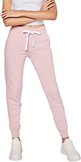 esstive Women's Ultra Soft Fleece Basic Midweight Casual Solid Jogger Pants, Pink, Small