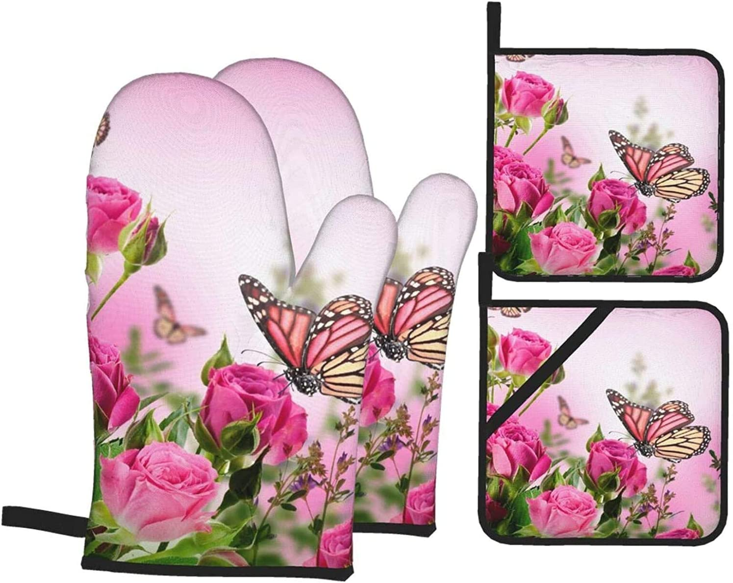Roses and Max 40% OFF Flower Buds with Mitts Butterflies Oven Beauty products Holder Pot
