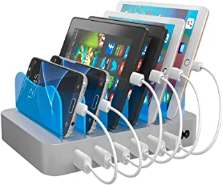 Hercules Tuff Charging Station for Multiple Devices, with 6 USB Fast Ports, 6 Short Mixed USB Cables Included for Cell Pho...