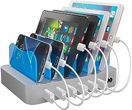 ایستگاه شارژ سریع Hercules Tuff برای دستگاه های متعدد - خانه یا شغل خود را سازماندهی کنید! کابل های شارژر 6 پورت چند USB شامل (3 نوع) - تلفن ، لپ تاپ ، سامسونگ ، بلوتوث ، کیندل (ETL دارای مجوز)