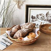 MAHFEI Round Woven Bread Roll Basket, Rattan Hand Woven Storage Box Pastoral Style Gift Basket Set Restaurant Serving Bask...