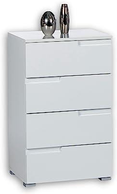 SPICE Commode en blanc brillant - Buffet moderne avec beaucoup d'espace de rangement pour votre salon - 50 x 80 x 40 cm