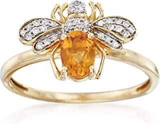 Ross-Simons 0.40 Carat Citrine and .10 ct. t.w. Diamond Bee Ring in 14kt Yellow Gold