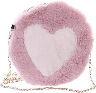 Kawaii-Story LB-7044-2 Rosa weiß Herz Plüsch flauschig Faux-Fur Damen Mini Party Umhänge Tasche Pastel Goth
