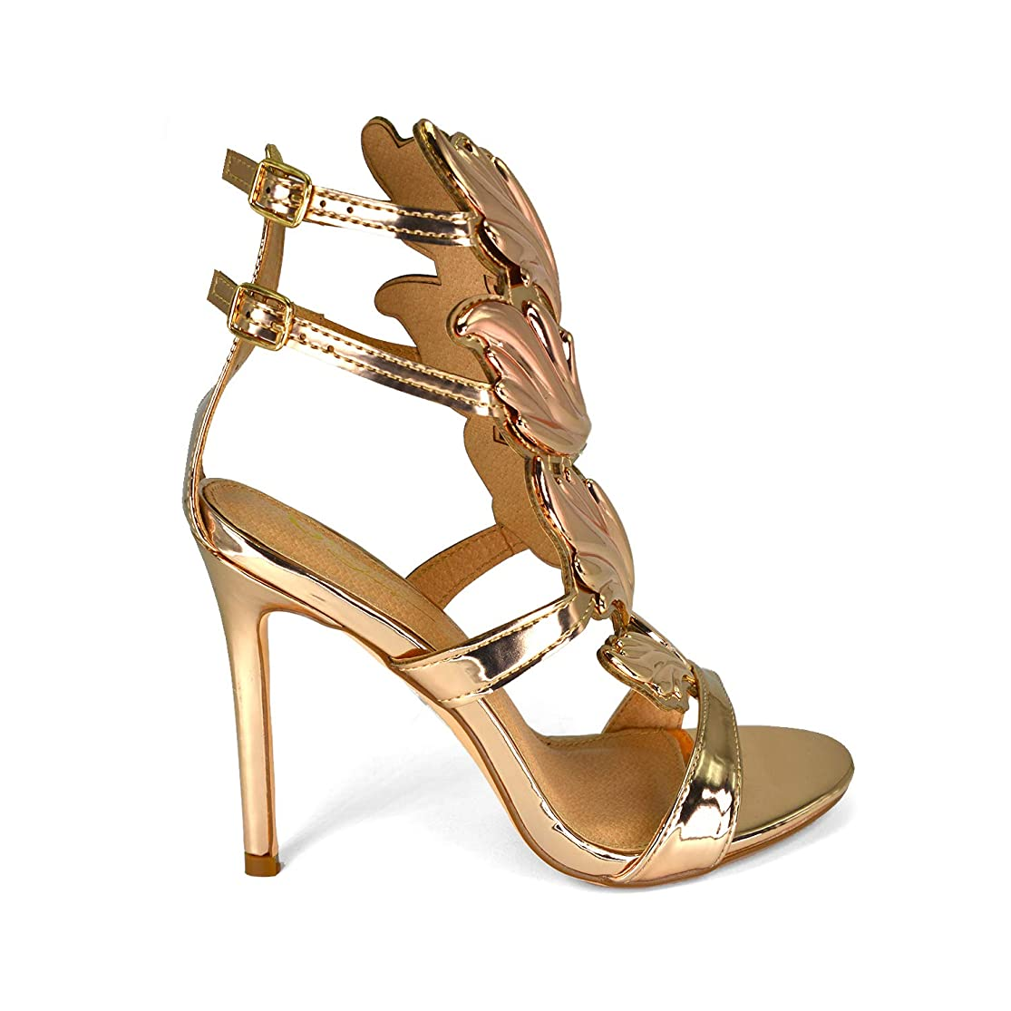Olivia and Jaymes Fashionable Winged Open Toe High Heel Ankle Strap Wing Sandals for Women lgfnjylq0