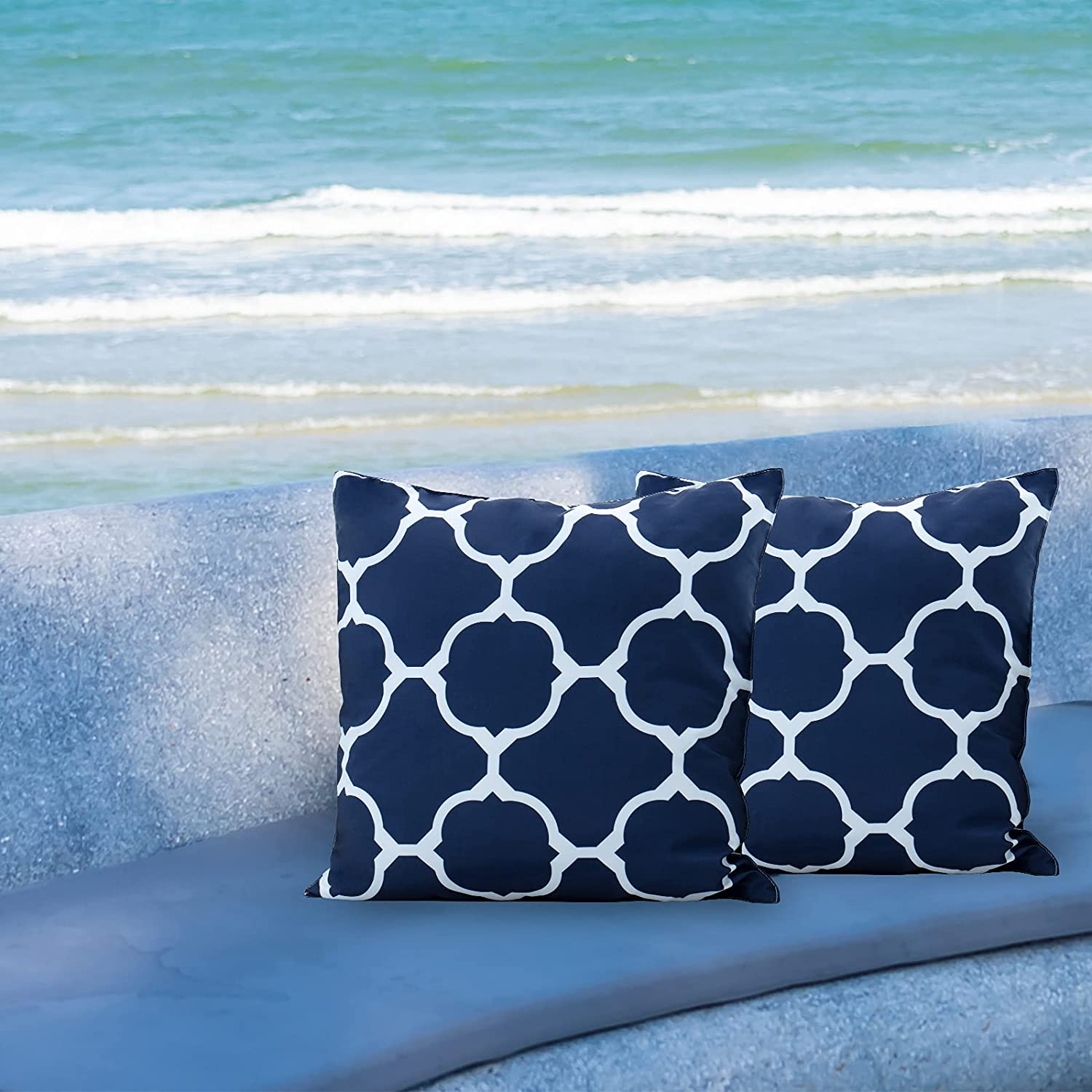 [Ultra Water Resistant] Bonlino Pack of 2 Decorative Outdoor Patio Waterproof Throw Pillow Covers Garden Cushion Sham Pillowcase Shell for Patio Furniture and Sunbrella 18x18 Inch ( Blue Geo Pattern)
