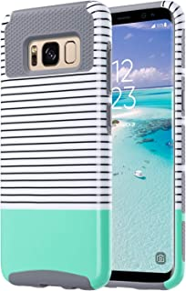 ULAK Galaxy S8 Case, Hybrid Slim Stylish Protective Case 2-Piece Dual Layer Style Hard Cover for Samsung Galaxy S8 2017 (Minimal Mint Stripes+Grey) Will not Fit S8 Plus