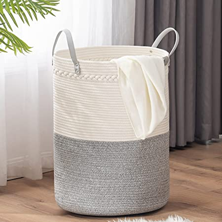 TECHMILLY Tall Laundry Basket, Large Woven Cotton Rope Dirty Clothes Hamper with Handle for Nursery, Bathroom, Bedroom - 72L