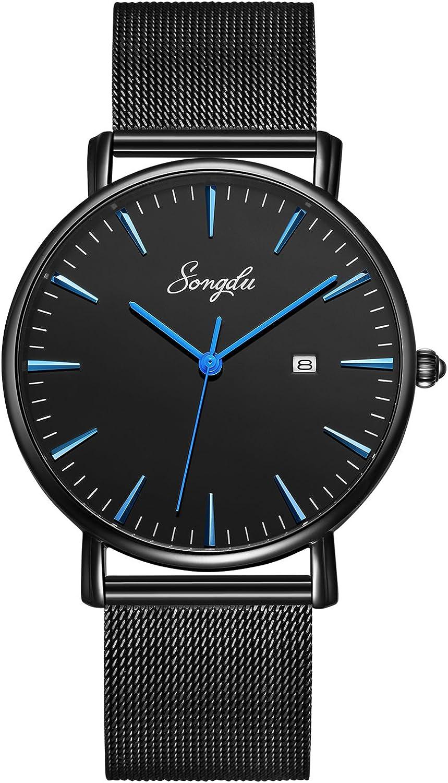 Portland Mall SONGDU Men's Ultra-Thin Quartz Analog with Date Watch Wrist Blac Sale price