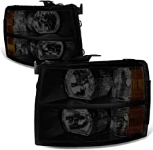 Pair of Black Housing Smoked Lens Amber Corner Headlight Assembly Lamps Replacement for Chevy Silverado 1500-3500 07-14