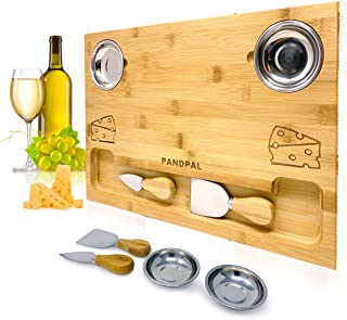 Bamboo Cheese Board Set, Charcuterie Food Serving Tray - BONUS Stainless Steel KNIVES & BOWLS, Extra LARGE [16x11x1] Woode...