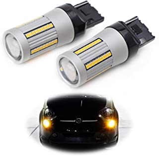 iJDMTOY (2) No Hyper Flash 24W High Power Amber 7440 W21W T20 LED Replacement Bulbs Compatible With Car Front or Rear Turn Signal Lights (No Load Resistor Required)
