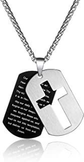 P. BLAKE Stainless Steel Dog Tag Cross Necklace for Men Boys Lord's Prayer Pendant with Wheat Chain 24 Inches
