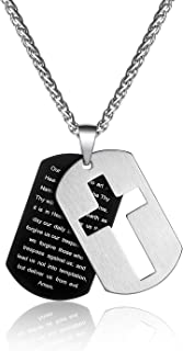 P. Blake Stainless Steel Cross Necklaces for Men Boy, Include 2 Dog Tag Pendant Jewelry, Wheat Chain 3mm 24 Inches
