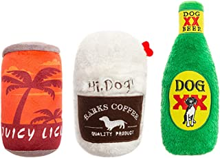SCIROKKO 3pcs Squeaky Toy Set - Cute Stuffed Plush Coffee Juice Beer Bottle Toy for Puppy Small Medium Dog