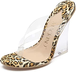 405-2 Women's Clear Wedge Heel Thong Slip On Mule Dress Sandals